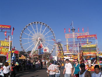 English: The midway at the Orange County Fair,...
