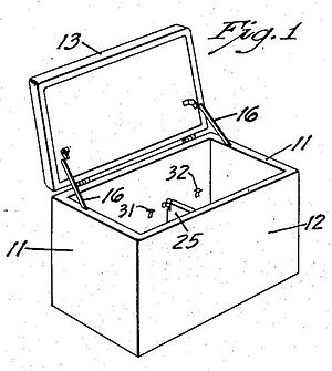 Portable Ice Chest, detail of patent drawing.