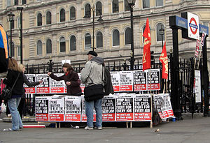 English: A stall run by the Socialist Worker's...