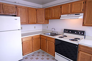 English: The kitchen in a Stafford apartment