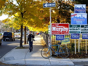 Campaign signs touting candidates with Irish, ...