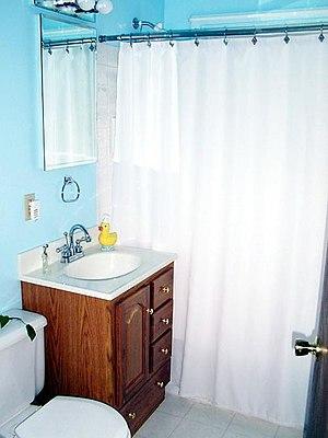 An American bathroom of a freshly renovated ho...