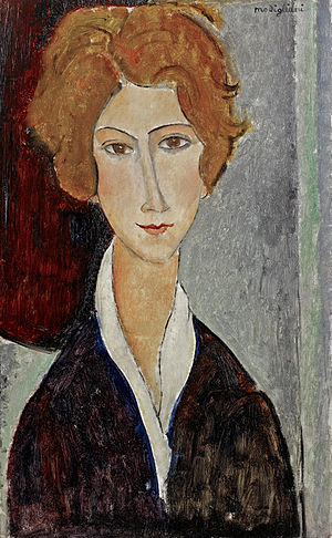 Portrait de femme, painting by Amedeo Modiglia...