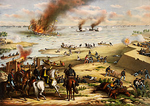 Battle Between the Monitor and Merrimac, print published by Kurz and allison (1889) Merrimac