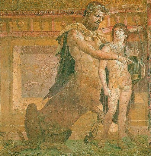 Chiron instructs young Achilles - Ancient Roman fresco