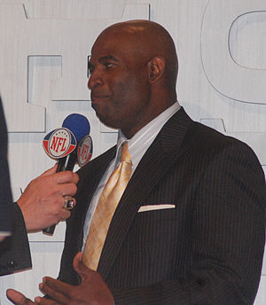 English: Deion Sanders being interviewed at th...