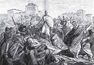 Español: El Cid luchando en los arrabales de V...