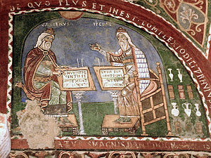 Mural painting showing Galen and Hippocrates. ...