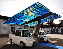 Photovoltaics   Wikipedia Photovoltaic SUDI shade is an autonomous and mobile station in France that  provides energy for electric cars using solar energy