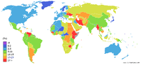 World map showing inflation. Grey means no data.