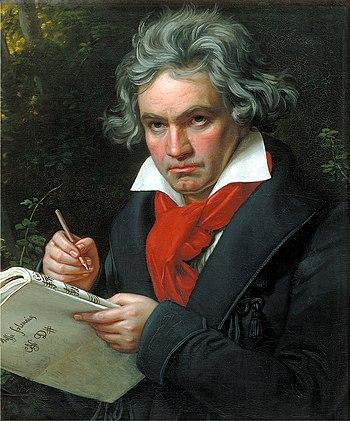 Portrait Ludwig van Beethoven when composing t...