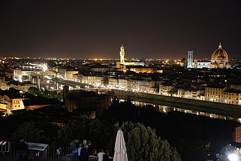 English: Florenace, Italy at night, seen from ...