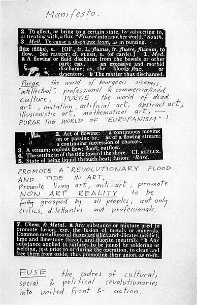 Manifiesto Fluxus, George Maciunas, 1963.