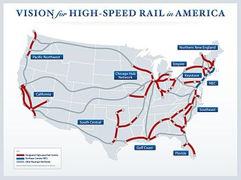 Map of US Government Plan for High-Speed Rail