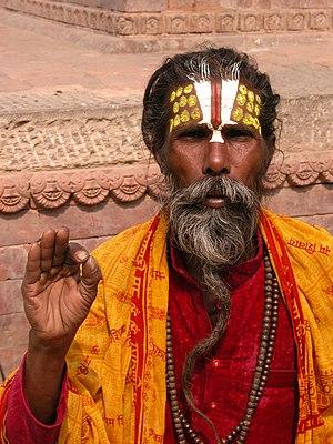Nepali sadhu performing a blessing. Français :...