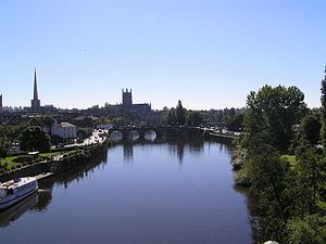 Worcester Cathedral and river Severn. Taken fr...
