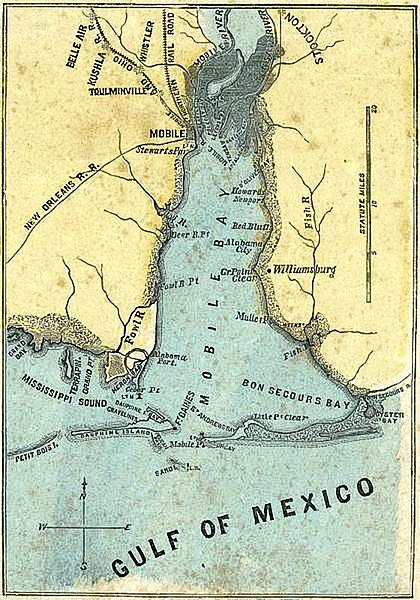 H. H. Lloyd & Co's 1861 map of Mobile Bay, Alabama