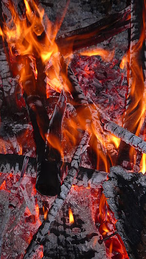 Closeup of a campfire
