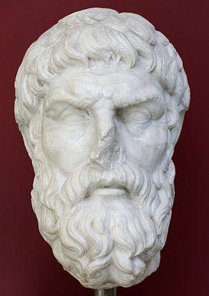 Portrait of Epicurus. Pentelic marble, Roman c...