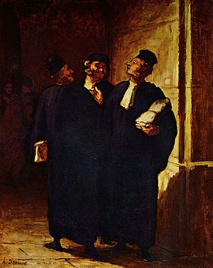 19th century painting of lawyers, by French ar...