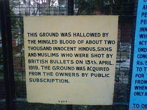 English: Sign at Jallianwala Bagh