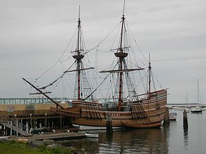 The Mayflower II, a replica of the original Ma...