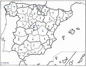 Español: Mapa de la procedencia de los concurs...