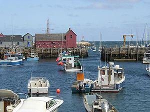 Rockport inner harbour showing lobster fleet a...