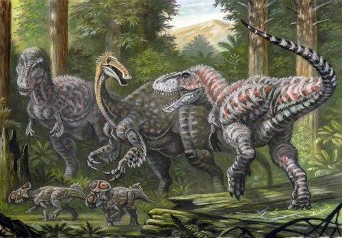 Tarbosaurus illustration showing the environment