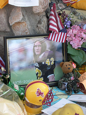 This memorial was set up by fans of Pat Tillma...