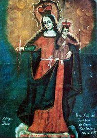 una fotografía de la Virgen del Socavón en Bolivia.