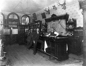 Interior view of the Toll Gate Saloon in Black...