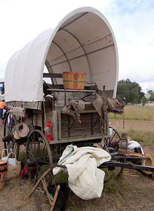 A covered wagon at the Texas Parks and Wildlif...