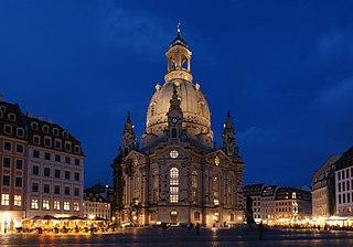 Dresdner Frauenkirche in der Blauen Stunde