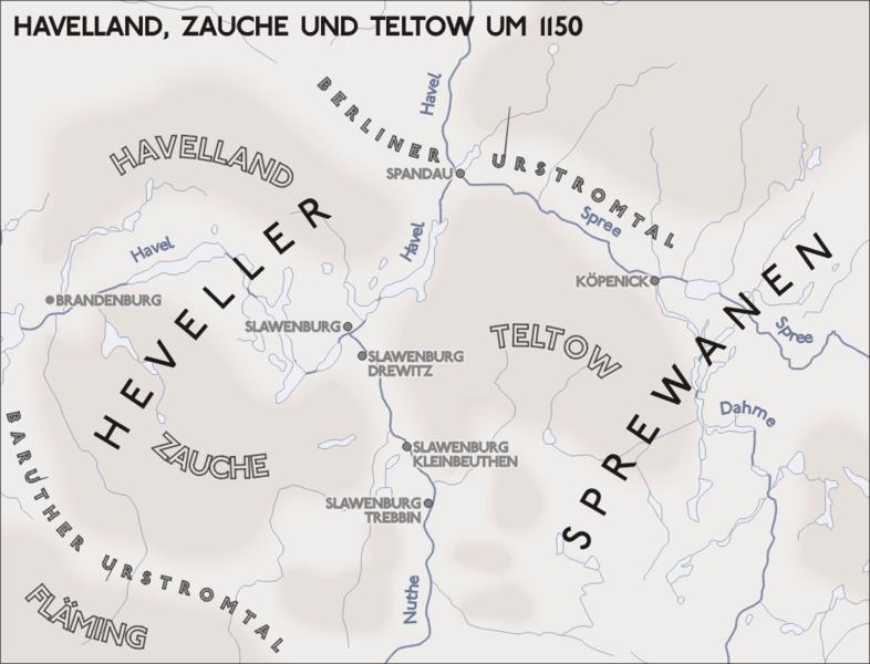 Slawische Siedlungen in Havelland, Zauche und Teltow um 1150