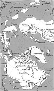 The maximum extent of glacial ice in the north polar area during Pleistocene time.