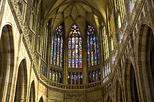 A view of the interior of St. Vitus Cathedral ...