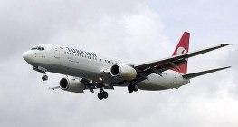 Türk Hava Yolları uçağı. Bir Boeing 737