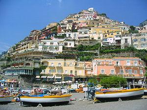 Vue de Positano depuis la Plage