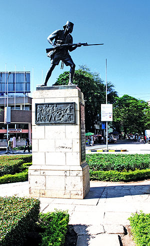 English: The Askari Monument in Dar es Salaam,...
