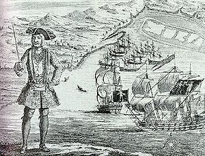 Bartholomew Roberts with his ship and captured...