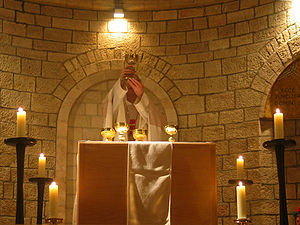 English: Midnight Mass, Dormition, Jerusalem. ...