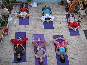 A yoga class.
