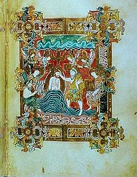 Miniatura del battesimo di Gesù tratta dal Benedizionale di S. Ethelwold, X secolo, esempio della miniatura anglosassone