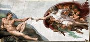 Gottheit im altrosa Nachthemd und Rauschebart