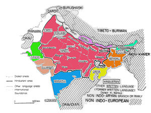 A map showing the distribution of Indo-Aryan l...