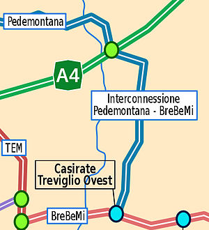 English: Scheme of the BreBeMi Motorway, Italy...