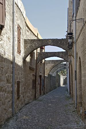 English: An alley in the medieval city of Rhod...