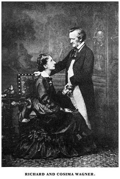Richard Wagner and his second wife Cosima, who...