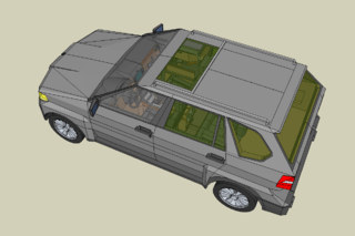 A model of a car made in SketchUp